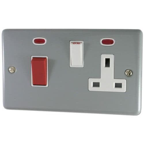 G&H CLG29W Standard Plate Light Grey 45 Amp DP Cooker Switch & 13A Switched Socket
